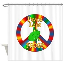 Peace Love Frogs Shower Curtain