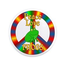 Peace Love Frogs Button
