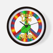 Peace Love Frogs Wall Clock