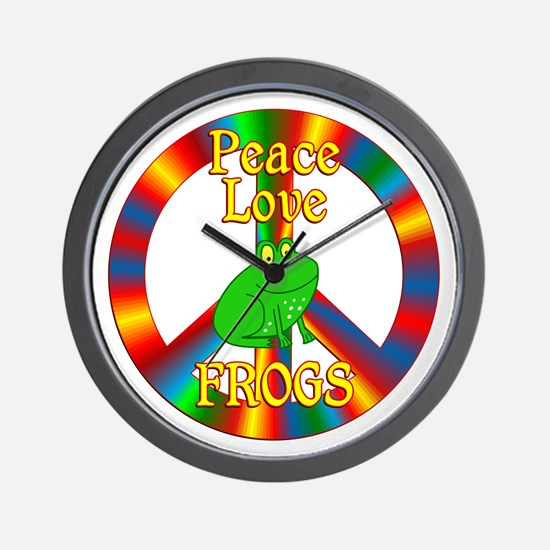 Peace Love Frogs Wall Clock