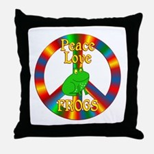 Peace Love Frogs Throw Pillow