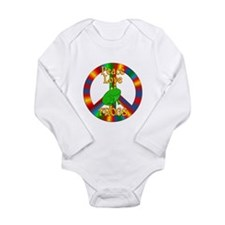Peace Love Frogs Long Sleeve Infant Bodysuit