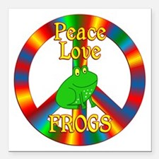 """Peace Love Frogs Square Car Magnet 3"""" x 3"""""""