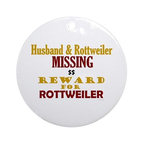 Husband & Rottweiler Missing Ornament (Round)