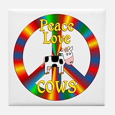 Peace Love Cows Tile Coaster