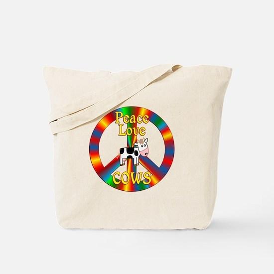 Peace Love Cows Tote Bag