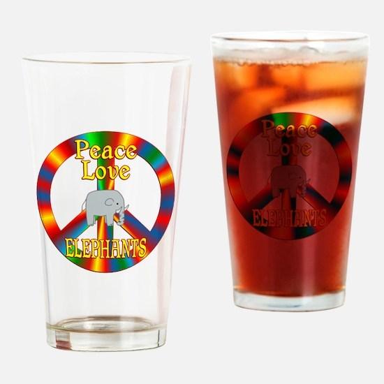 Peace Love Elephants Drinking Glass