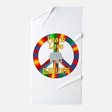 Peace Love Elephants Beach Towel