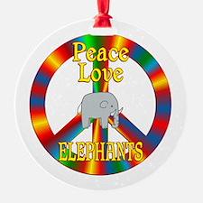 Peace Love Elephants Ornament