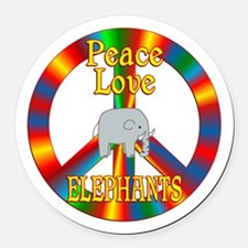Peace Love Elephants Round Car Magnet