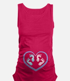 Boy / Girl Twins Footprints Maternity Tank Top