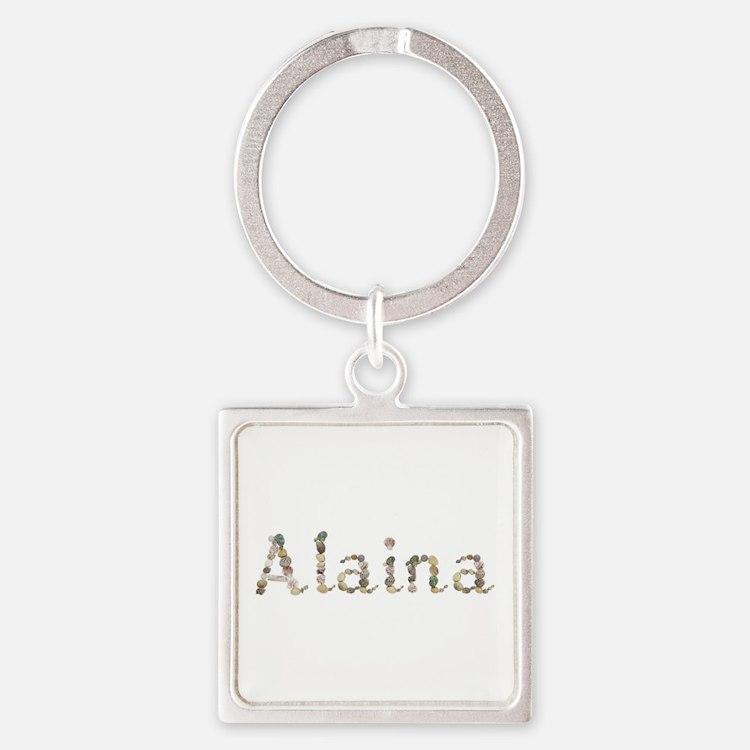 Alaina Seashells Square Keychain