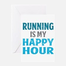 Running Is My Happy Hour Greeting Cards