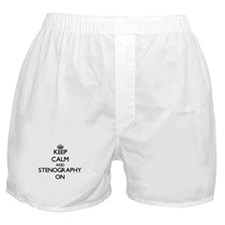 Keep Calm and Stenography ON Boxer Shorts