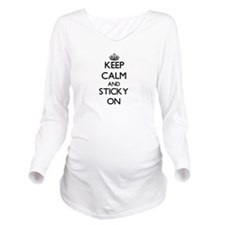 Keep Calm and Sticky Long Sleeve Maternity T-Shirt