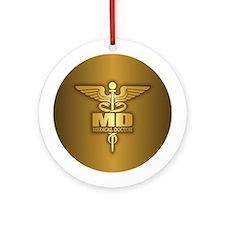 Gold Caduceus MD Ornament (Round)