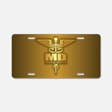 Gold Caduceus MD Aluminum License Plate