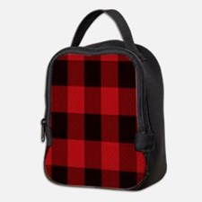 red black plaid Neoprene Lunch Bag