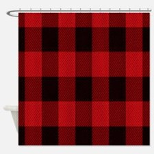 red black plaid Shower Curtain