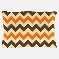 Chevron Retro Orange Brown Pillow Case