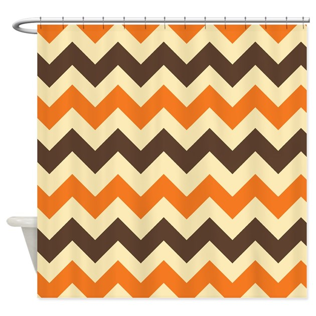 Chevron Retro Orange Brown Shower Curtain By Admin CP3217356