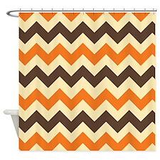 Chevron Retro Orange Brown Shower Curtain