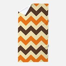 Chevron Retro Orange Brown Beach Towel