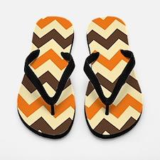 Chevron Retro Orange Brown Flip Flops