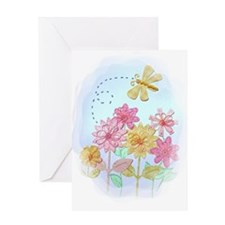Tatted Dragonfly Garden Greeting Cards