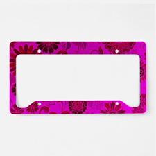 Bright Pink Retro Flowers License Plate Holder