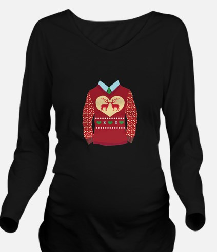 Christmas Sweater Long Sleeve Maternity T-Shirt