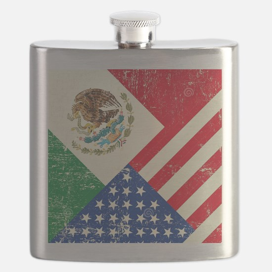Two Flags, One Race Flask
