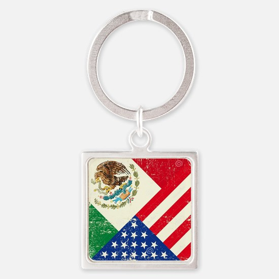 Two Flags, One Race Square Keychain