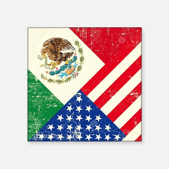 """Two Flags, One Race Square Sticker 3"""" x 3"""""""