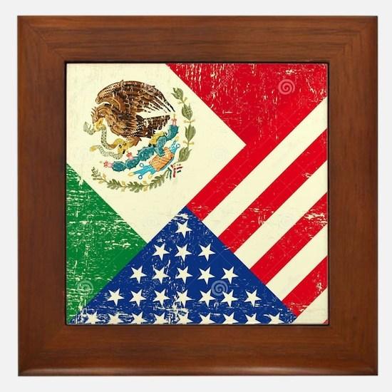 Two Flags, One Race Framed Tile