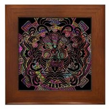 Aztec Warrior Psychedelic Mask Framed Tile