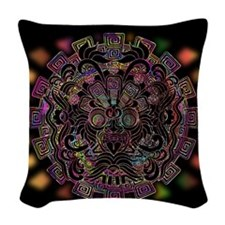 Aztec Warrior Psychedelic Mask Woven Throw Pillow