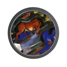 Franz Marc - Red and Blue Horse Wall Clock