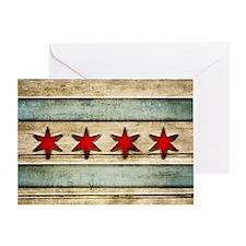 Vintage Chicago Flag Distressed Wood Greeting Card
