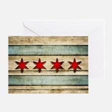 Vintage Chicago Flag Distressed Wood Greeting Card