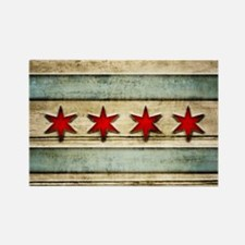 Vintage Chicago Flag Distressed W Rectangle Magnet