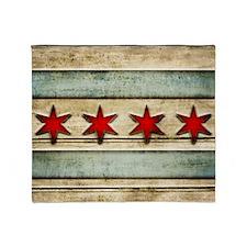 Vintage Chicago Flag Distressed Wood Throw Blanket