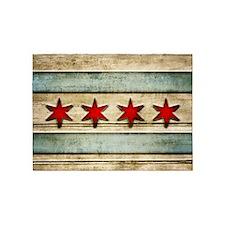 Vintage Chicago Flag Distressed Woo 5'x7'Area Rug