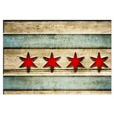 Vintage Chicago Flag Distressed Wood Framed Print