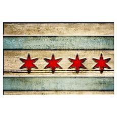 Vintage Chicago Flag Distressed Wood Poster