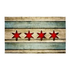 Vintage Chicago Flag Distressed Wood Area Rug