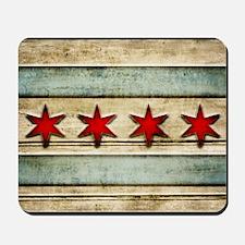 Vintage Chicago Flag Distressed Wood Mousepad
