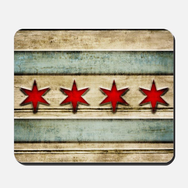 Vintage Chicago Flag Distressed Wood Mousepad