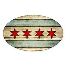 Vintage Chicago Flag Distressed Woo Decal