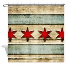Vintage Chicago Flag Distressed Woo Shower Curtain